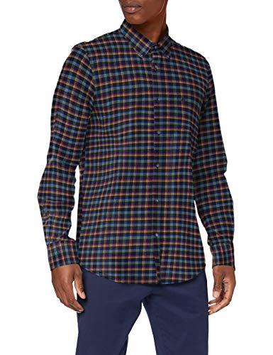 LERROS Herren B.D. Herringbone Hemd mit Button-Down-Kragen, DARKBLUE, L