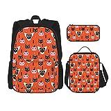Black Cat Spooky Owl Geom - Juego de mochila de 3 piezas para adolescentes y niñas