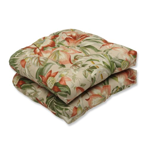 """Pillow Perfect Outdoor/Indoor Botanical Glow Tiger Stripe Tufted Seat Cushions (Round Back), 19"""" x 19"""", Floral 2 Pack"""