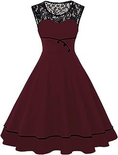 MisShow Damen 50s Retro Rockabilly Vintage Kleid Rundausschnitt Ärmellos Partykleid
