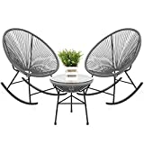 Best Choice Products 3-Piece All-Weather Patio Woven Rope Acapulco Bistro Furniture Set w/Rocking Chairs, Table - Gray