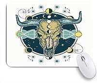 ECOMAOMI 可愛いマウスパッド バッファローの頭蓋骨 滑り止めゴムバッキングマウスパッドノートブックコンピュータマウスマット