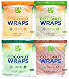 NUCO Organic Coconut Wraps Variety Pack: Original, Turmeric, Moringa, and Cinnamon (20 wraps total)