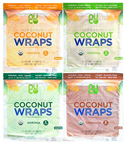 NUCO Organic Coconut Wraps Variety Pack: Original, Turmeric, Moringa, and Cinnamon (20 wraps total)