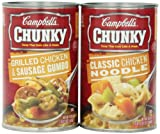 Ships in Amazon Certified Frustration-Free Packaging 6 variety pack total of 112.2 ounce, includes 3 chunky classic chicken noodle (18.6 Ounce each) and 3 chunky chicken and sausage gumbo (18.8 Ounce each) Good source of protein and fiber Low fat; Lo...