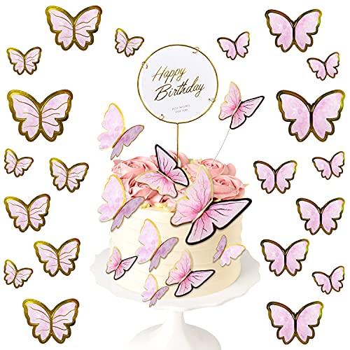 21Pcs Topper Tarta Decoración Cumpleaños Mariposas Adornos Pastel Happy Birthday Cake Topper Decoración para Pastel de Cumpleaños Mariposas Decorativas para Chicas Infantiles Niñas (Rosado)