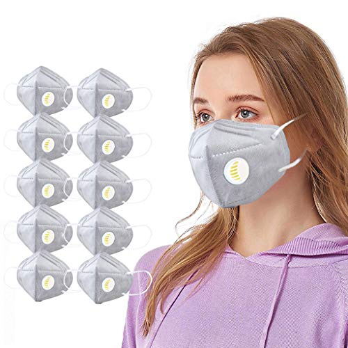 Sequn Adult Facial Protection Filtration With Breather Valve, Anti-Fog, Dust-Proof Haze Cover Full Face Protection 10PCS (Grey)