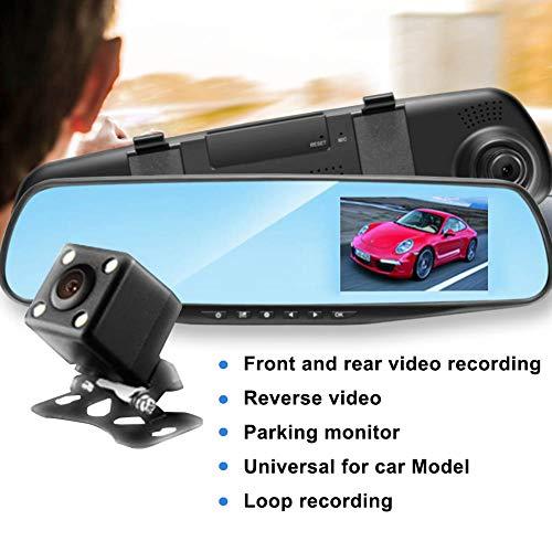 YSHtanj Auto DVR Auto DVR Auto DVR 4.3inch 1080P Dual Lens Auto Achteruitrijcamera DVR Spiegel Dash Cam Recorder Kit