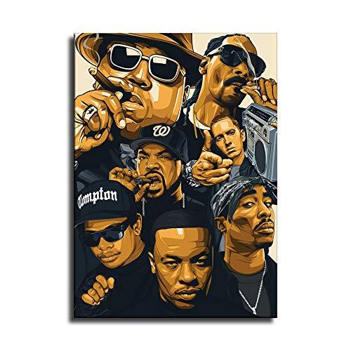 Rapper Hip Hop Old School Legends Biggie Snoop Dogg 2Pac Póster Lienzo Impresión Decoración del Hogar Cuadros Arte de Pared Regalos Decoración del Dormitorio