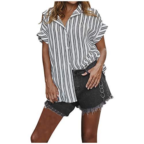Auifor vrouwen strepen oversized losse bovenstukken, V-hals korte mouwen button top shirts blouse