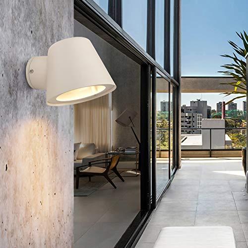 Aplique Moderno Nordico Aluminio Pequeño Exterior Blanco ip65, Lampara Pared Acero Focos Estanca para Cuadros,Espejo Baño,Dormitorio,Infantil,Lectura,Habitacion,Jardin,con Gu10 led Bombilla Calido
