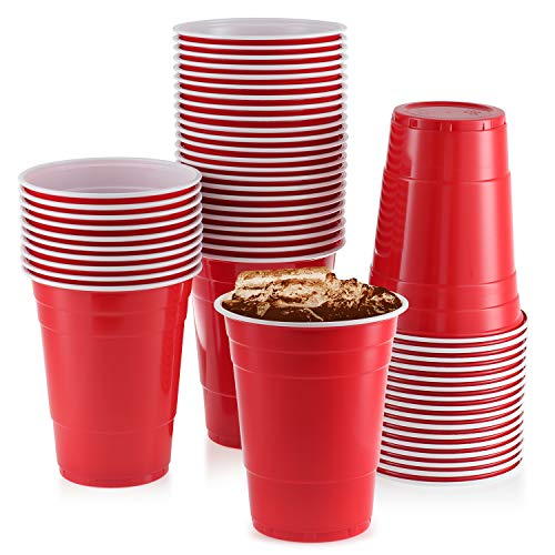 Red Plastic Cups, [50 Pack] 16 Oz Party Cup Disposable Cup Big Birthday party Cups