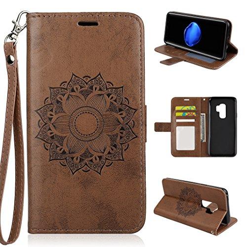 Galaxy S9 Plus Hülle, PU Leder Brieftasche Flip Case Cover Schütz Ledertasche im Bookstyle mit Standfunktion Kartenfächer und Magnetverschluss Handyhülle für Samsung Galaxy S9 Plus Design Mandala