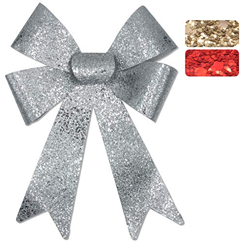 Glitzer-Geschenkschleife, 45x28x8cm, geeignet für Geschenke, Hochzeiten, Partys und als Dekoration (1x Silber (Groß), 45x28x8cm)