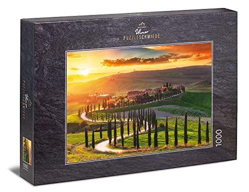 """Ulmer Puzzleschmiede - Puzzle """"Toskana"""" - Klassisches 1000 Teile Italien-Puzzle - Puzzlemotiv der malerischen Toskana-Landschaft im Sonnenuntergang"""
