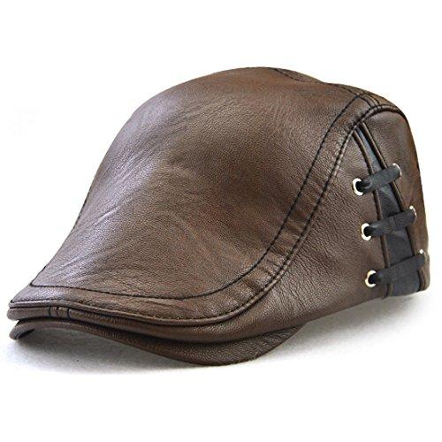 Kuyou Herren Gatsby Flatcap PU-Leder Schiebermütze Ivy Schirmmütze Kappe (Stylische Braun)