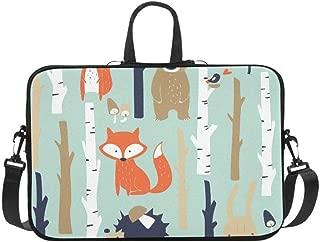 Animal Fox Bear Bunny Bird Tree Pattern Briefcase Laptop Bag Messenger Shoulder Work Bag Crossbody Handbag for Business Travelling