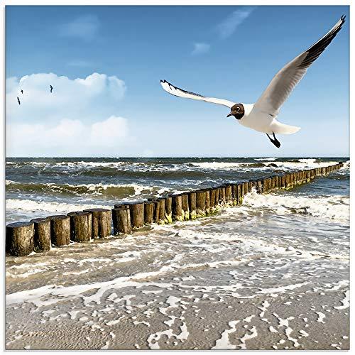 Artland Glasbilder Wandbild Glas Bild einteilig 30x30 cm Quadratisch Strand Meer Maritim Landschaft See Ostsee Möwe Himmel Sommer T5QR