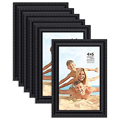 Langdon House 4x6 Picture Frames (Black, 6 Pack), Contemporary Frame Set, Wall Mount or Table Top, Prosperity Collection