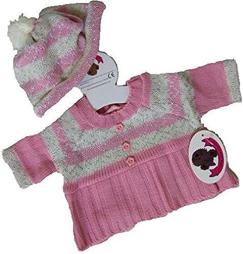 Build Your Bears Wardrobe 15-Inch Bear Clothes Fit Build Bear Fairisle Knit Dress and Hat Teddy Bear Clothing (Rosa) by BYBW Ltd