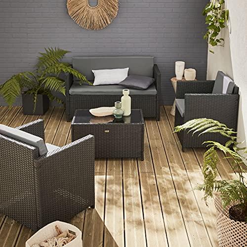 Muebles de jardín, Conjunto sofá de Exterior, Negro Gris, 4 plazas, Rattan sintético, Resina Trenzada - Perugia
