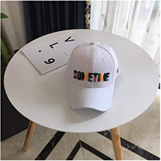 Hats Embroidery, Baseball Cap, Couple, Hip Hop Cap Hats, Men and Women, Spring and Summer, Colored Letters, Fashion (Color : White, Size : F)
