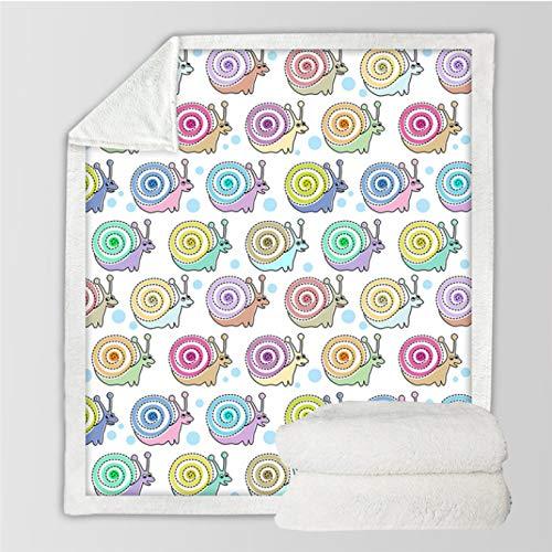 GermYan Sniglar barn överkast filt Kawaii filtar för sängar tecknad plysch sängöverkast färgglad insekt mjuk filt 150 x 200 cm