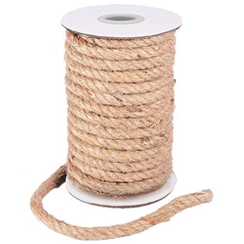 HOMYHOME Cuerda Yute Natural 10mm Cuerda cañamo artesanía para Industrial, Embalaje, Artes y Manualidades, Regalos, decoración, empaquetamiento, jardinería y hogar Cuerda de Yute 33ft