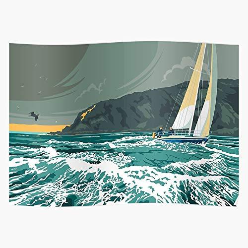 Generic The Stormy Storm Yacht Gorge Seacape Corryvreckan Whirlpool Jura Isle Orwell 1984 of Home Decor Wandkunst drucken Poster !