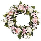 Corona de rosas artificiales de seda con flores rosas corona de flores de seda decoración para Navidad, bodas, cumpleaños, chimeneas, interiores y exteriores, decoración de pared