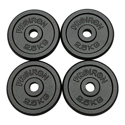 PROIRON Dischi pesi Piastre Ghisa peso impostato 1.25kg, 2,5 kg, 5 kg, 10 kg Per manubri da 1 pollice (1.25kg*4)