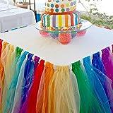 DishyKooker - Falda de tutú de tul con adhesivo mágico colorido mantel de tul para fiestas, bodas, baby shower y decoración del hogar
