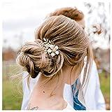 SWEETV Gold Braut Haarspange, Floral Bridal Hair Comb Haarspange Blume Haarteile für Bräute Hochzeit