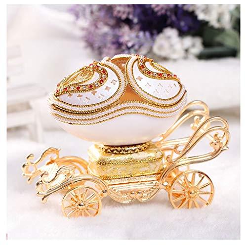 Caja de música de bebé Caja de música mecánica Jeweled ganso huevo princesa Carriage cajas de recuerdo musical de regalo for Navidad Año Nuevo regalo de cumpleaños de los niños Regalo ( Color : Gold )