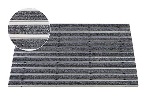 EMCO Eingangsmatte DIPLOMAT Rips hellgrau 22mm Fußmatte Schmutzfangmatte Fußabtreter Antirutschmatte, Größe:590 x 390 mm