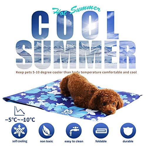 Mingzheng Selbstkühlende Kühlmatte für Große Hunde XL/XXL Kühldecke Ungiftig Gel Matte, Druck Aktiviert Decke für Welpe Hastier zu Hause oder im Auto im Heißen Sommmer Blau Blumen 70 * 90 cm