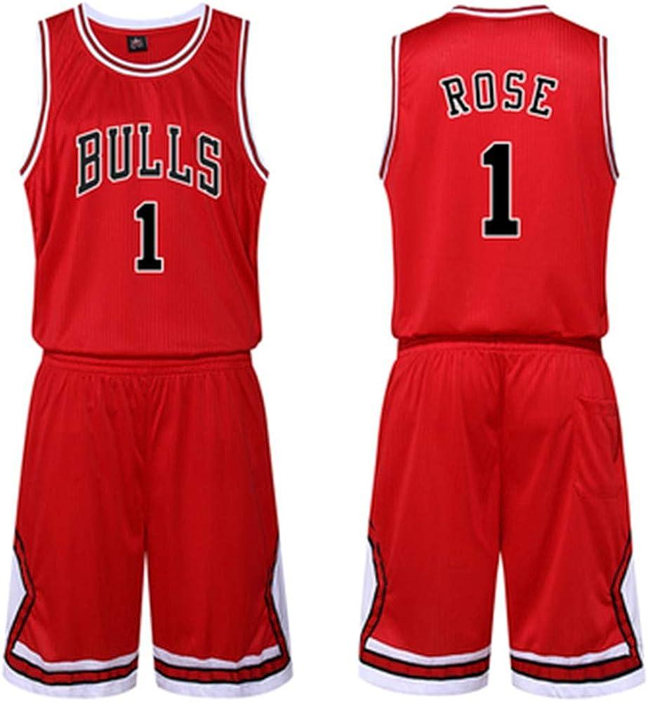 S-3XL DIWEI Maglia da Basket da Uomo Derrick Rose # 1 Chicago Bulls Street Retro Tshirt Estate Ricamo Top Ragazzo Swingman Costume da Basket Regalo di Compleanno
