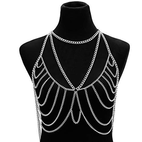 Fairvir Punk capas cadenas de cuerpo Sexy playa Crossover pecho cadena de moda arnés accesorios corporales joyería para mujeres y niñas (plata)