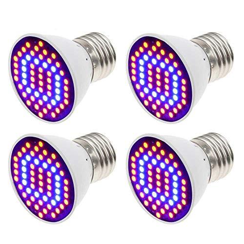 Derlights - Set lampadine E27 4W, 44 rosse, 16 blu, per giardino e serra idroponica