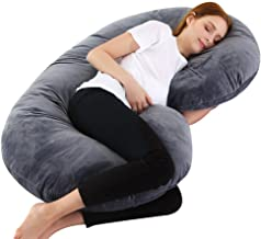Gluckluz Pregnancy Pillow C Shape Maternity Full Body Pillow Case Crystal Velvet Pregnant Women Support with Zipper Detachable Cover, Relieve Muscle Soreness (Grey, 155x80cm)