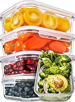 Prep Naturals Glass Meal Prep Containers - Food Prep Containers with Lids Meal Prep - Food Storage Containers Airtight - Lunch Containers Portion Control Containers Bpa-Free  5 Pack 30 Ounce
