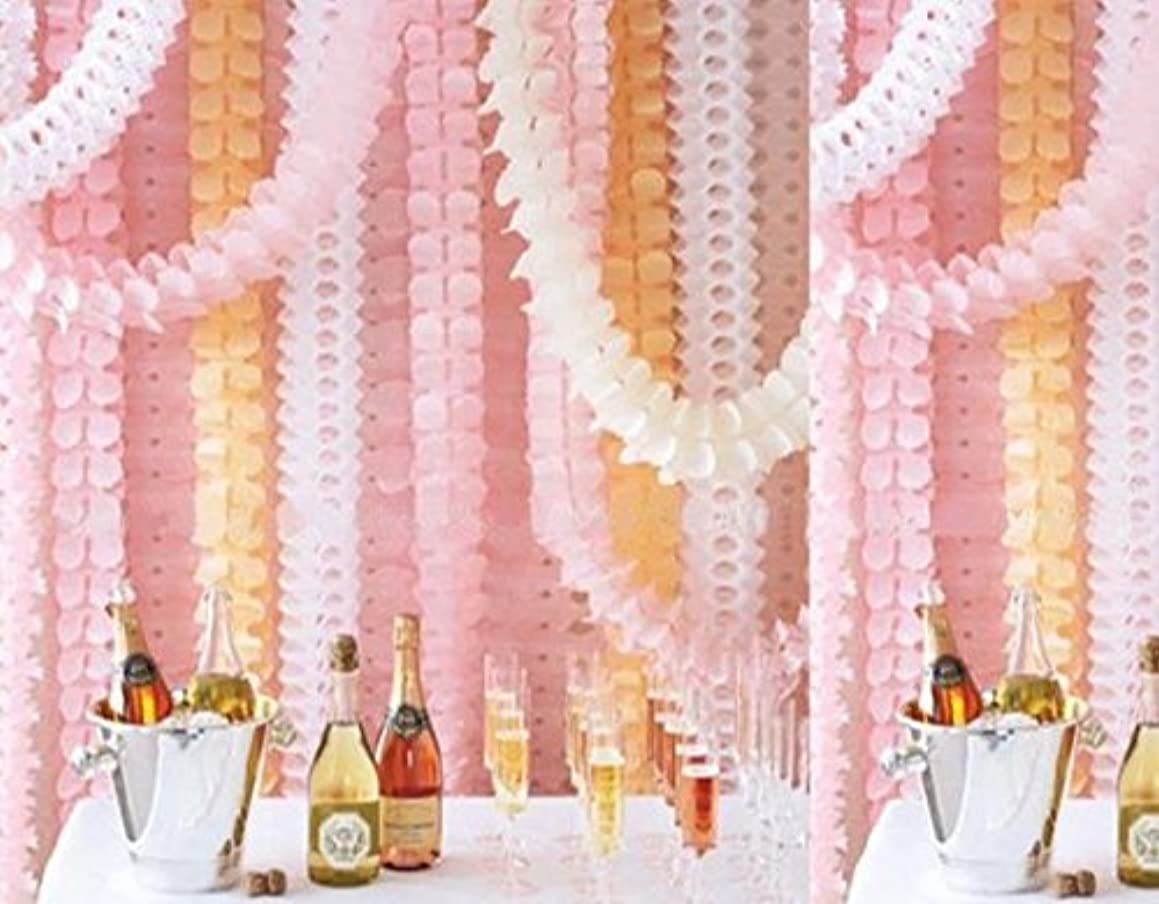 Joinor 6pcs 10-feet Long Pink Four-Leaf Clover Garland Tissue Paper Flowers, Tissue Paper Garland, Independence Day Decoration Wedding Party Decor Tissue Paper Flowers Kit Garland Craft