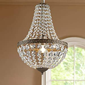 Bestier French Empire Antique Silver Finish Farmhouse Crystal Pendant Chandelier Lighting LED Ceiling Light Fixture Lamp Dining Room Bathroom Bedroom Livingroom 1 E26 Bulbs Required H18 inch X D12 inc