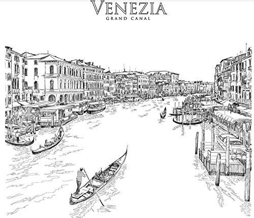 DZBHSCL 4D Behang muurschilderingen, creatieve zwarte en witte stad Venetië landschap kunstdruk grootte fotobehang voor thuis woonkamer bank Tv achtergrond veranda slaapkamer wanddecoratie poster 100in×144in 250cm(H)×360cm(W)