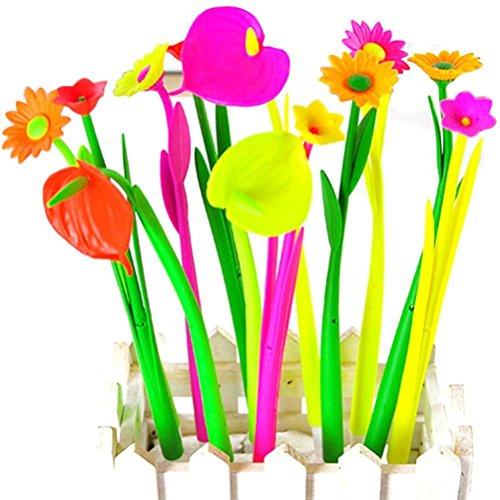 Tily Blumenstifte, schwarze Gelstifte mit 0,38 mm großer Spitze als Geschenk für Schüler, schwarze Tinte, 10 Stück