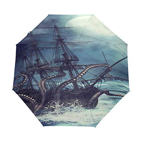 Kleiner Reiseschirm Winddicht im Freien Regen Sonne UV Auto Compact 3-Fach Regenschirm Abdeckung - Mondnacht-Piratenschiff