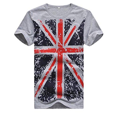 Camiseta polo masculina de manga curta e gola redonda da VITryst-Men Plus Size, Cinza, US 3X-Large=China 4X-Large