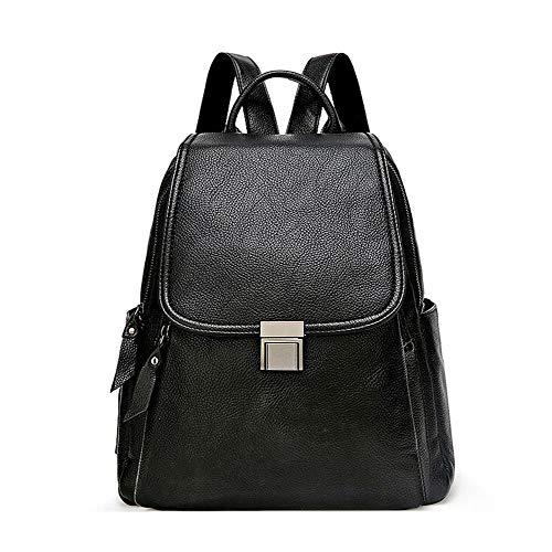 Grote reizen capaciteit rugzak Casual Lichtgewicht Dames Rugzak, PU Zweep van het leer Backpack Ladies Backpack Zip schoudertas waterdichte rugzak (Color : Black, Size : One size)