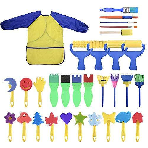 Ariymap 31 STÜCKE Kinder Malset, Waschbar Pinsel Set für Kleinkind Kinder Übung Intelligenz Früherziehung Spielzeug Fingerfarben Schwämme Künstlerbedarf Geschenke