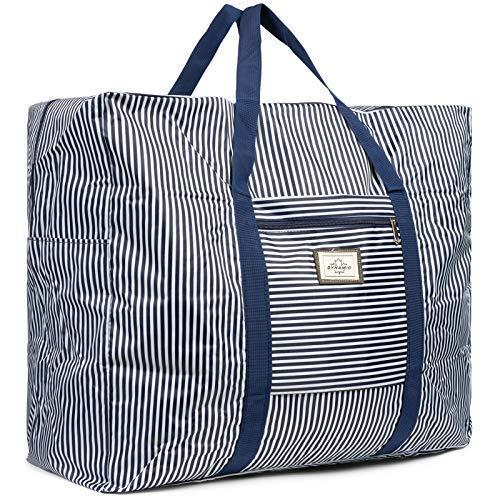 Cleostyle Bolsa Playa Mujer Bolso Baño con Cremallera Comprador Playa Bolso del Bolso de Hombro Grande Bolsa de Compra 722 - Azul/Blanco Grande, 59 x 39 x 17 cm